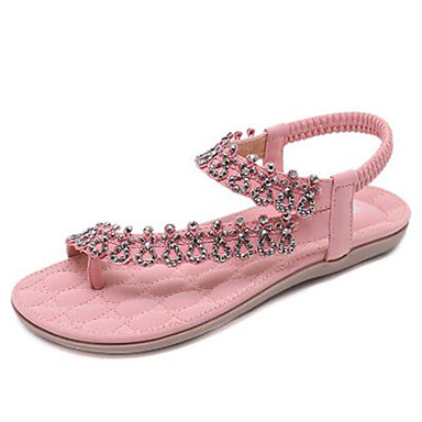 Plat été Confort 06778383 Chaussures Polyuréthane Femme Sandales Talon Rose Amande rond Bleu Bout Strass Printemps xwqtTSS40