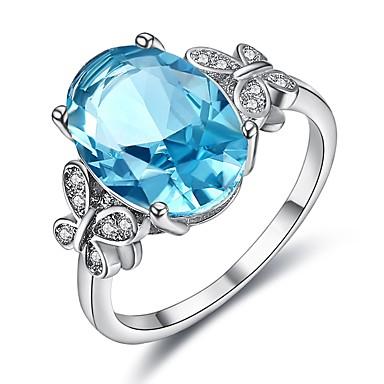 billige Motering-Dame Ring Kubisk Zirkonium 1pc Sølv Platin Belagt Hvitt gull Oval damer Koreansk Fest Aftenselskap Smykker simulert