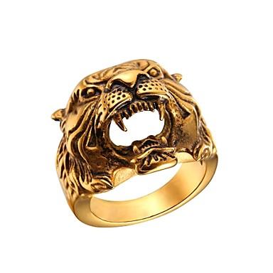 voordelige Heren Ring-Heren Hol Ring Roestvast staal Schedel Modieus Modieuze ringen Sieraden Goud / Zilver Voor Lahja Straat