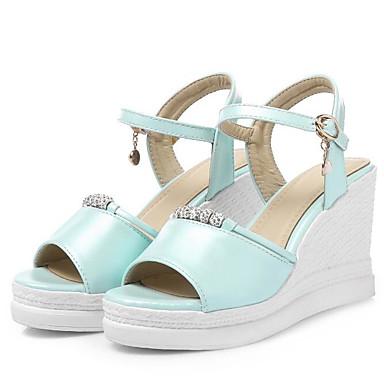 Tacón Punta Cuña 06795640 abierta Zapatos Mujer Sandalias Pedrería Azul Blanco Rosa PU Confort Verano qFAxSXwp