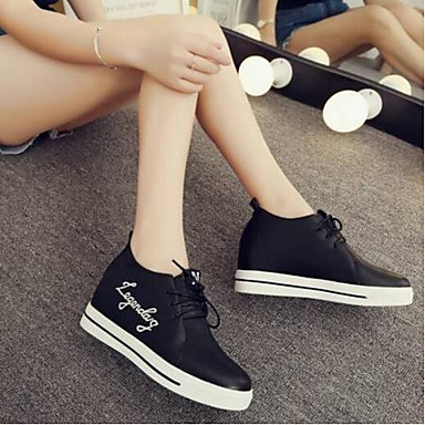 Confort Zapatos Mujer cerrada Blanco PU Plano 06796920 Negro Zapatillas Primavera Punta Verano Tacón de deporte wSIqpId