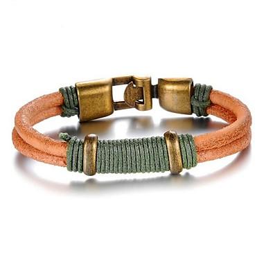 voordelige Herensieraden-Heren Lederen armbanden Double Twine Twist Circle Rock Leder Armband sieraden Oranje Voor Dagelijks Straat