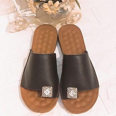 Confort y PU flip Negro Zapatos Mujer Verano Plano 06828408 flops Blanco Zapatillas Tacón XcBTtfqW