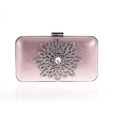 Žene Torbe Poliester / PU Večernja torbica Kristalni detalji / Cvijet Cvijetni print Crn / Blushing Pink / Srebro