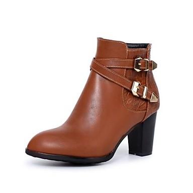 povoljno Ženske čizme-Žene Čizme Kockasta potpetica Okrugli Toe Kopča PU Čizme gležnjače / do gležnja Modne čizme Jesen zima Crn / Lila-roza / Tamno smeđa / EU41