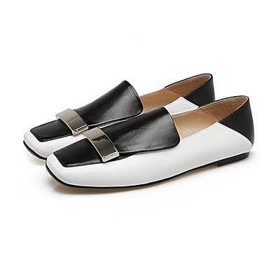 Noir Chaussures Noir D6148 Blanc Automne Chaussons 06795319 Talon Nappa blanc Plat et Mocassins Femme Cuir Confort Printemps 6xOqz6dBw