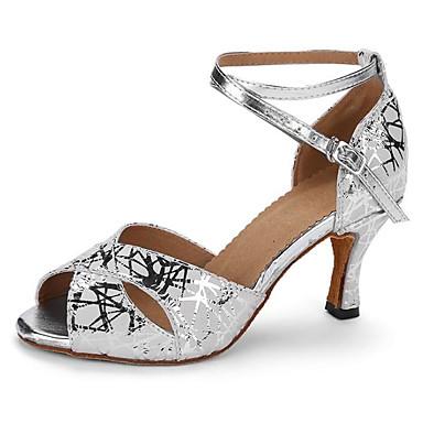 baratos Super Ofertas-Mulheres Pele de Carneiro Sapatos de Dança Latina Salto Salto Alto Magro Prata / Espetáculo / Couro / Ensaio / Prática