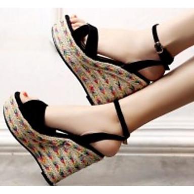 de Hauteur semelle Chaussures mouton compensée Eté 06791582 Confort Rose Femme Sandales Noir Peau de FqHww8Z