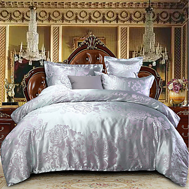 Duvet Cover Sets Luxury Polyster Jacquard 4 PieceBedding Sets / 300 / 4pcs (1 Duvet Cover, 1 Flat Sheet, 2 Shams)