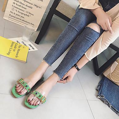 PU Almendra Verano PVC Plano Mujer Tacón Zapatos Verde Talón 06795426 Rosa Descubierto Sandalias wgnxExAq