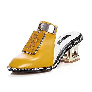 Confort Talon Femme Cuir Nappa Bas Eté Sandales 06776498 Jaune Chaussures Noir Blanc OHHqBw