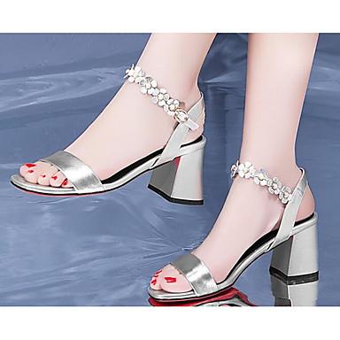 les chaussures de confort d'été / base de vache vache vache pompe sandales chunky talon blanc / noir / Argent  d6b96f