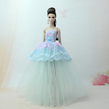 voordelige Poppenaccessoires-Poppenjurk Jurken Voor Barbie Kant Blauw Tule Kant Katoenmix Kleding Voor voor meisjes Speelgoedpop