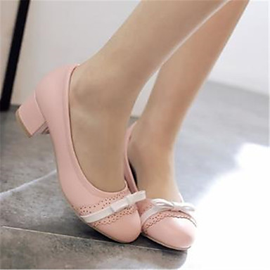 été Chaussures Chaussures Beige Bleu Escarpin Printemps Bottier Polyuréthane 06792863 Basique Noeud à Femme rond Talons Bout Talon Rose qUYwxCw