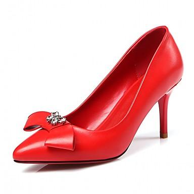 à Rouge Automne Aiguille amp; Printemps Talon Noir pointu Faux Cuir Chaussures Bout Escarpin 06835707 Chaussures Basique Femme Talons wXfazz