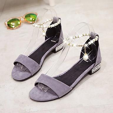 Verano Tacón y PU Sandalias Dos Zapatos D'Orsay Negro 06781634 Plano Piezas Mujer Gris IAEx58qww