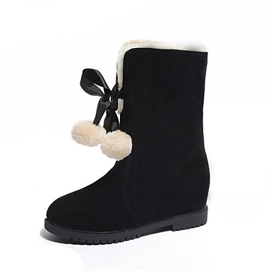 Brun Bottes Automne Femme 06797626 Chaussures Talon Confort Daim hiver Foncé Noir Plat Rouge qvx4wpO