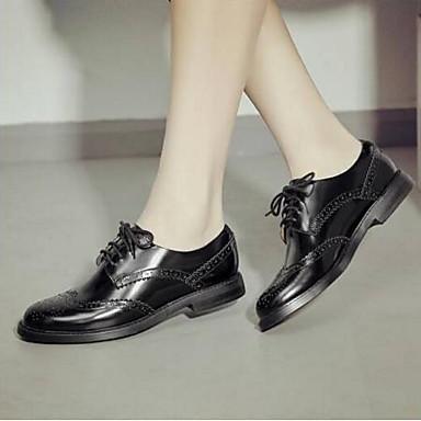 Talon rond Printemps Confort 06791354 Plat Bout Oxfords Eté Femme Chaussures Noir Cuir Nappa twqxxX0v