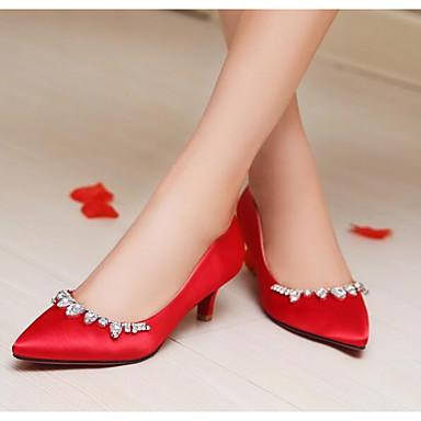 Eté 06836438 Rouge Noir Satin Femme à Chaussures Talons Chaussures Talon Confort Aiguille Z4gvg