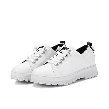 Nappa Plat rond 06785633 Automne Noir Bout Confort Cuir Chaussures Femme Talon Basket Blanc Printemps RWO8E8q