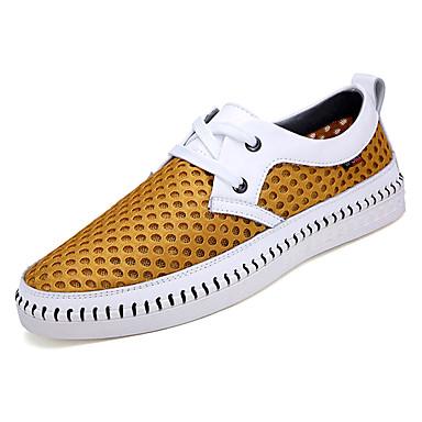 Men's Mesh / Fall Comfort Sneakers Yellow / Mesh Brown / Blue e9c820