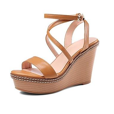 06774478 Sandales Cuir Noir compensée claire semelle Hauteur Confort Femme de Nappa Chaussures Eté Brun xOAwnqgX