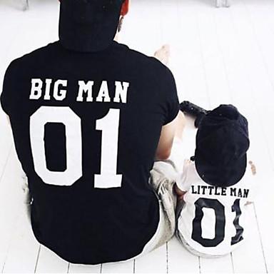 economico Abbigliamento combinato per famiglie-Adulto / Bambino Papà e io Essenziale Quotidiano Tinta unita / Alfabetico Manica corta Standard Poliestere T-shirt Blu marino