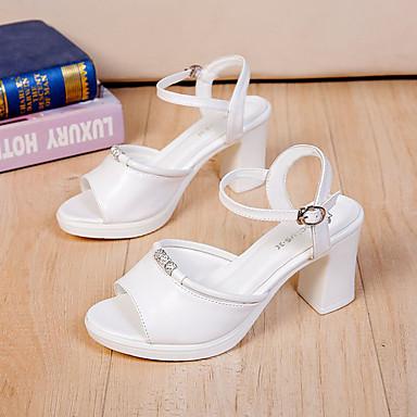 Blanco Negro 06781119 redondo Verano Mujer Tobillo Beige Dedo Sandalias Tira el Cuero Zapatos Pedrería en Patentado Tacón Cuadrado UZ76fZT