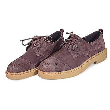 Jaune Café Cuir Confort Femme Chaussures Croûte Plat Bout Noir Talon 06797604 Printemps fermé de Oxfords Eté g6qa4