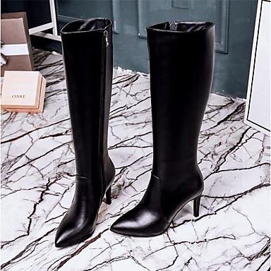 Automne Mode Bottes Cuir 06778200 Aiguille à Bout Bride A la Nappa Bottes Chaussures Noir fermé hiver Talon Arrière Femme Bottes qtgpAP4n1w