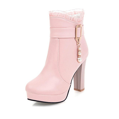 Women s Shoes PU(Polyurethane) Fall   Winter Fashion Boots Boots Chunky Heel  Round Toe Booties   Ankle Boots White   Black   Pink   Party   Evening d73093dd371a