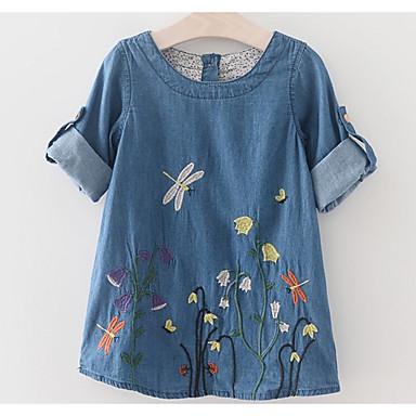 baratos Vestidos para Meninas-Infantil Para Meninas Básico Diário Sólido Bordado Manga Curta Acima do Joelho Vestido Azul