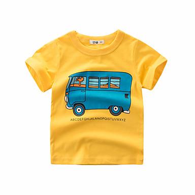 baratos Camisas para Meninos-Infantil Para Meninos Activo Sólido Manga Curta Algodão Camiseta Verde