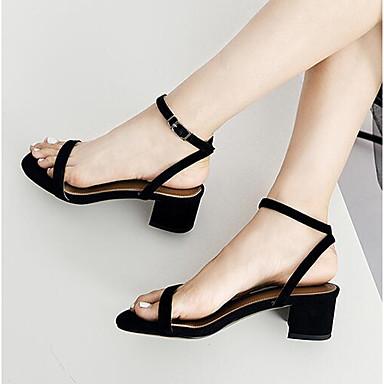 Žene Cipele Brušena koža Ljeto Udobne cipele Sandale Blok pete Otvoreno toe Kopča Crn / Plava / Badem