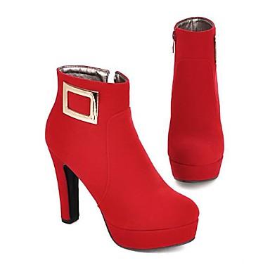 Femme Bottier rond à Bottes la Bottine 06818500 Demi Noir Rouge Automne Chaussures Bottes Botte Mode Talon Daim hiver Bout vwXqvr7