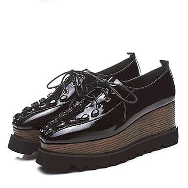 Printemps Bout 06834817 Eté Verni Femme Creepers Oxfords Chaussures fermé Cuir Confort clair Noir Bleu wqH41A