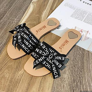 flops 06836959 Talón flip Mujer PU Blanco y Verano Zapatos Negro Descubierto Zapatillas Plano Tacón 8OOxtq0w