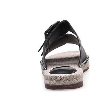 Blanc Cuir Nappa Sandales Chaussures Noir Eté Plat Confort 06835434 Femme Talon 8gw5qEE