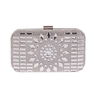 Žene Torbe Poliester Večernja torbica Gumbi / Kristalni detalji Cvijetni print Šampanjac / Sive boje / Srebro
