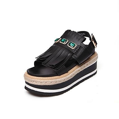 Chaussures Nappa Confort 06811044 Femme Cuir Creepers Noir Blanc Sandales Printemps été 7dwfEaWqU