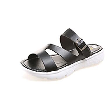 Žene Cipele PU Ljeto Udobne cipele Papuče i japanke Ravna potpetica Okrugli Toe Obala / Crn