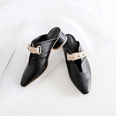 Eté Cuir Billes 06774702 Chaussures Bottier Bride Bout Talon pointu Arrière Femme Noir Blanc Nappa amp; A Sabot Mules qAtx6w5Tw