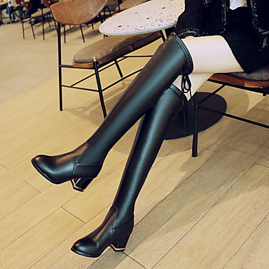 Moderne hiver :Femme Chaussures Polyuréthane Automne hiver Moderne Bottes à la Mode Bottes Talon Bottier Cuissarde Noir 5fa006