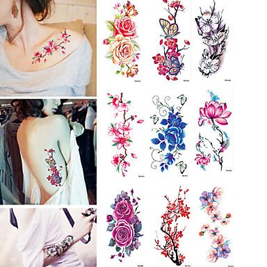 9 pcs Временные тату Временные татуировки Цветы Защита от влаги Искусство тела Корпус / рука / Стикер татуировки