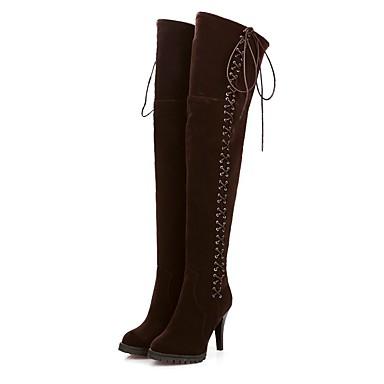 povoljno Ženske cipele-Žene Čizme Stiletto potpetica Brušena koža Udobne cipele Jesen zima Crn / Plava / Tamno smeđa