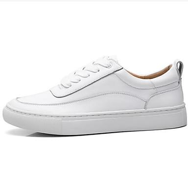 Basket Eté Femme Chaussures Confort Printemps Cuir fermé Nappa Blanc Plat 06840593 Talon Bout BCYCfq