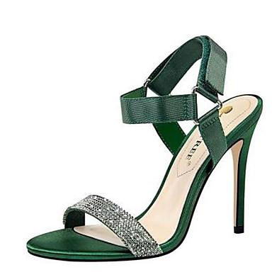 Žene Cipele Saten / PU Proljeće ljeto Obične salonke Sandale Stiletto potpetica Otvoreno toe Štras Sive boje / Crvena / Zelen / Zabava i večer