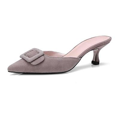 Noir Kitten Sabot Femme Confort Peau mouton Heel 06780664 Mules Eté de Kaki Marron Chaussures amp; wYHzP
