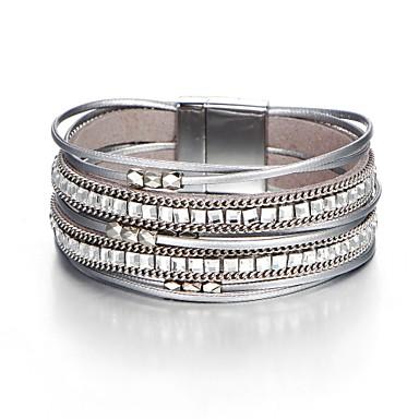 Mulheres Cristal Pulseiras de couro Longas senhoras Europeu Pele Pulseira de jóias Cinzento Para Diário