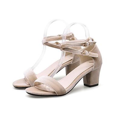 Rose Bottier Chaussures Bout Sandales 06778641 Confort Amande Gris Eté Femme ouvert Talon Daim Boucle PFqHFAY